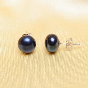 5d28e3495c17 ¡ Aretes Perlas Negras Naturales Cultivadas 7mm Reales !