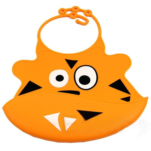 ¡ babero silicona baby bib divertido bebé tigresa naranja !!