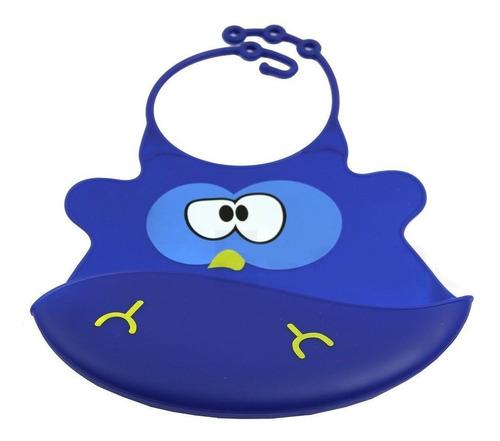 ¡ babero silicona baby bib divertido para bebé pollo azul !!