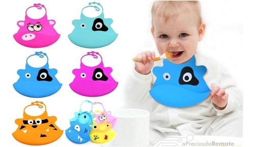 ¡ babero silicona baby bib divertido tu bebé vaca azul !!
