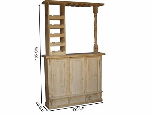 ! bar barra 120 cm almacén de pino bodega copero gran oferta