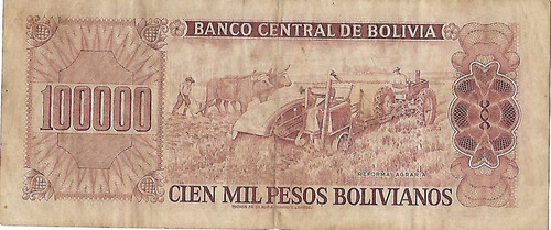 !!! billete bolivia 100.000 bolivianos 1984 imperdibles !!!