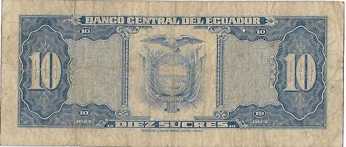 !!! billete ecuador 10 sucres 1982 imperdibles !!!