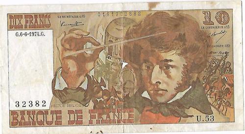 !!! billete francia 10 francos 1974 imperdible !!!