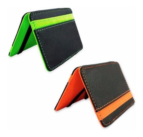 ¡ billetera naranja slim magic flip wallet para deportista !