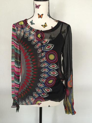 - blusa gasa negra desigual mandala m