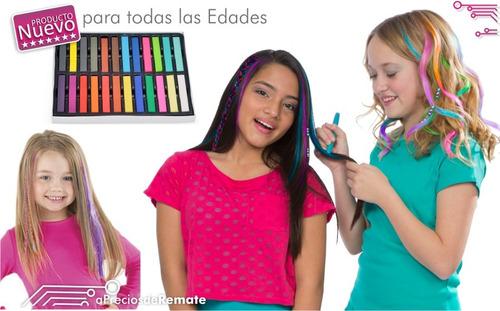 ¡ caja 24 tizas pintura temporal cabello mechas hair color !