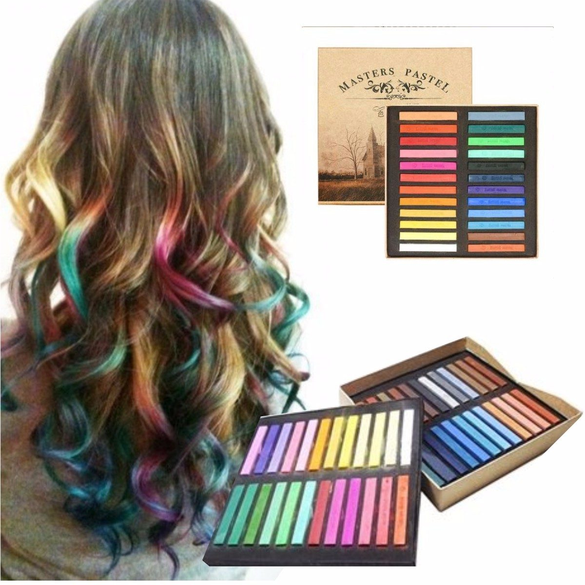 Caja 48 tizas pintura temporal cabello mechas hair color - Bano de color en mechas ...