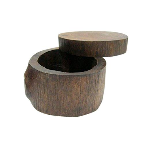 - caja de anillo de madera hecho a mano antiguo anillo ...
