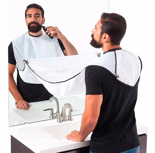 ¡ capa barbera afeitar recoge pelos barba beard pro blanca!!