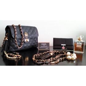 Cartera Estilo Chanel 2.55 Color Negro. Set De Tres Piezas