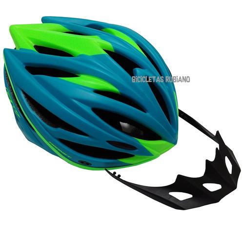 - casco bicicleta ruta montaña gw hornet azul + reflectivos