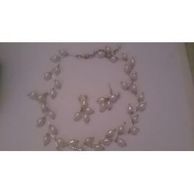 Collar De Perlas Naturales Original Con Zarcillo 7 Ver