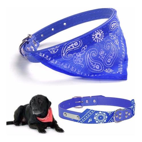 ¡ collar pañoleta grande azul mascota correa con bandana !!