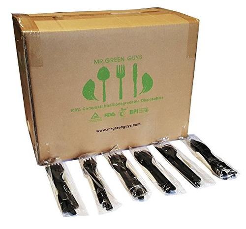 / compostables peso pesado juegos de cubiertos envueltos ind