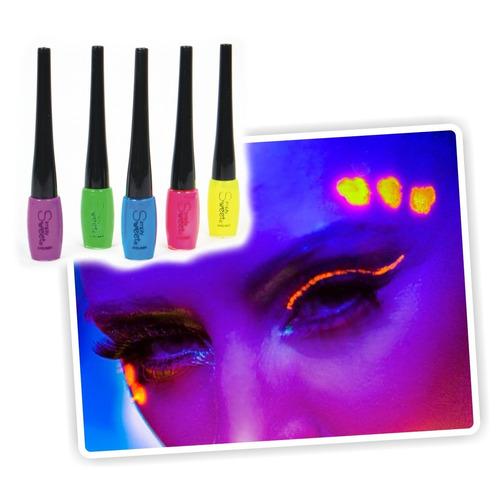 ¡ delineador ojos uv glow azul neón eyeliner blacklight !!