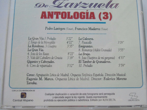 + disco de antología de zarzuela no. 3 original