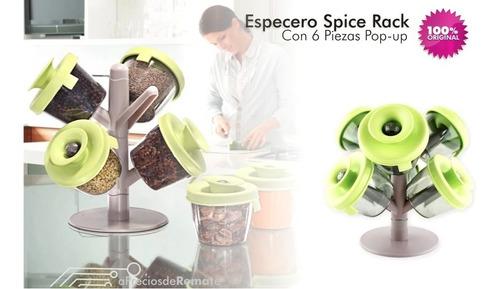 ¡ especiero condimentos spice rack 6 piezas tapas pop up !