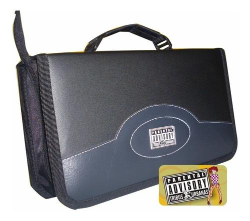 ¡ estuche tipo cuero portacd x80 doble argolla dvd cd blu !!