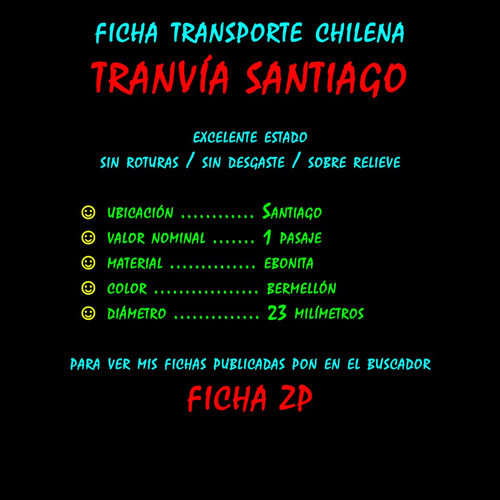¬¬ ficha ms transporte tranvía santiago rgh primera zp