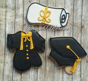 Graduación 20 Galletas Decoradas Mantequilla Toga Birret