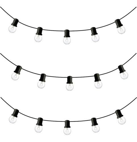* guirnalda 10 luces exterior transparentes x 10 mts calida