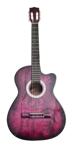 ¡ guitarra acústica para estudio boquete textura rosado !!