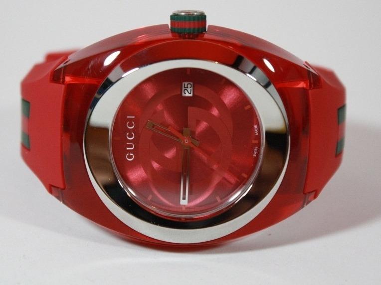 Hermoso Reloj Gucci Sync Color Rojo Correa De Caucho!! -   5 f57b10fdee1