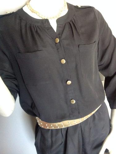 :::. jumpsuit o enterito negro corto, talla m. ::::