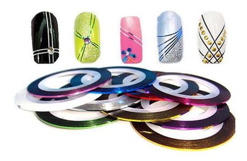 ¡ kit 12 cintas nail art tirillas adhesivas decorar uñas !!