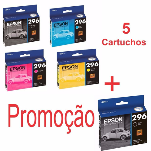 ' kit 5 cartucho original epson para xp231 xp241 xp431 296