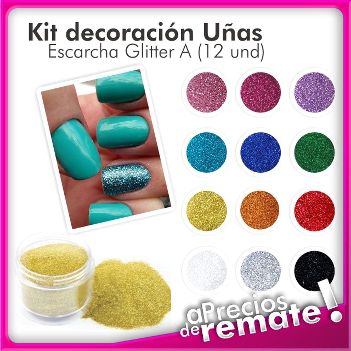kit de 12 glitter decoración de uñas escarcha cosmética