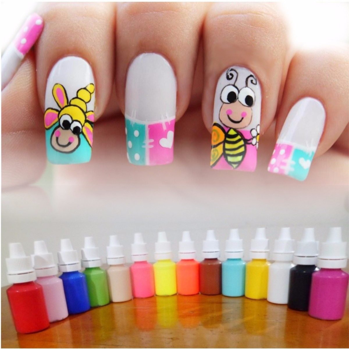 Kit de 12 pinturas acr licas nail art decoraci n u as for Unas facil de decorar en casa