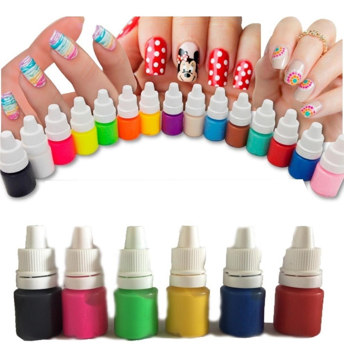 ¡ Kit De 12 Pinturas Acrílicas Nail Art Decoración Uñas ...