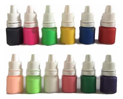 ¡ kit de 12 pinturas acrílicas nail art decoración uñas !!