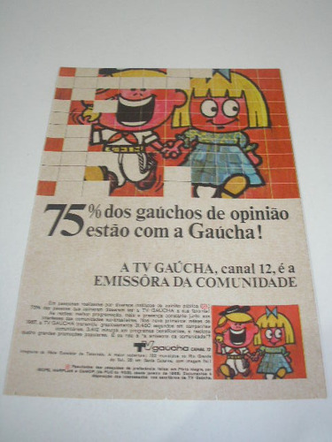 ( l - 290 ) propaganda antiga  tv gaucha - canal 12