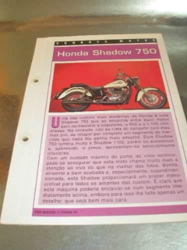 ( l - 430 ) folder motocicleta  honda shadow 750