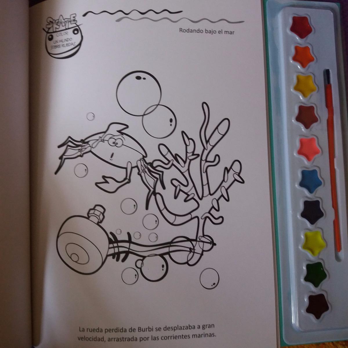 Libro Para Pintar Con Acuarelas Y Pincel Bajo El Mar