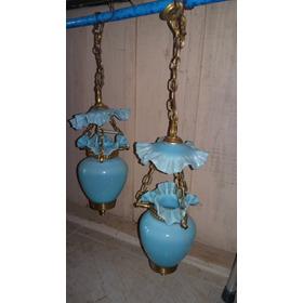 Lustre  Com Tulipas De Opalina Azul  Usado