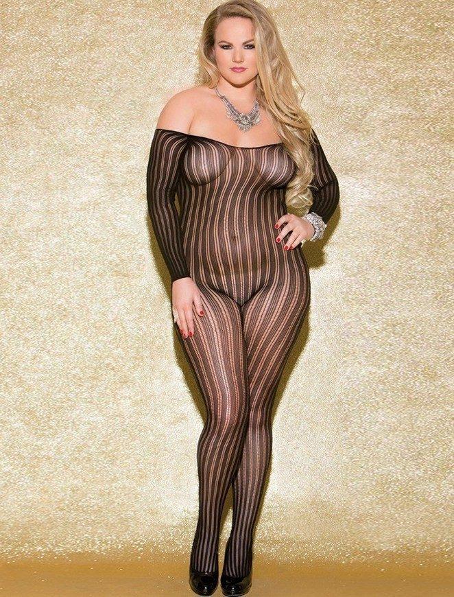 Plus Size Vivace Black Vertical Striped Bodystocking