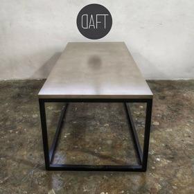 Mesa Ratona Hierro Y Microcemento 100x50 Industrial Cemento