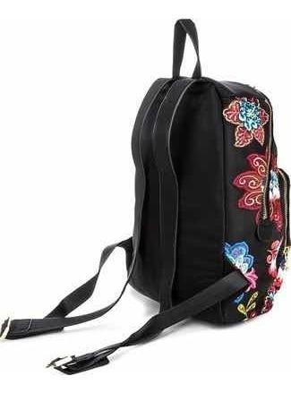 & mochila bordada negra desigual nueva con envío