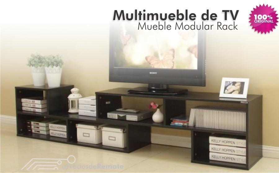 Mueble modular rack tv hasta mts multimueble living for Mueble rack