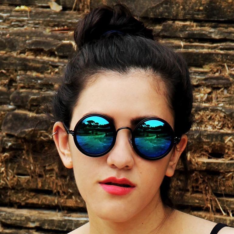 Óculos Sol Retrô Espelhado Redondo Hippie + Brinde Grátis¤ - R  79 ... 0ce00c5d74