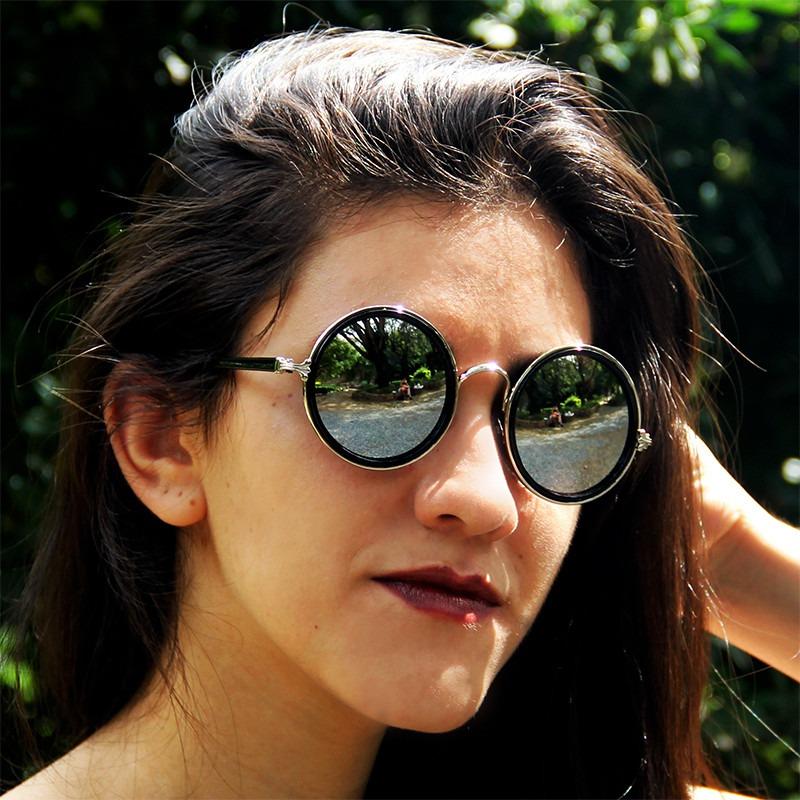 a98b4e77e24be óculos sol retrô espelhado redondo hippie + promo brinde. Carregando zoom.