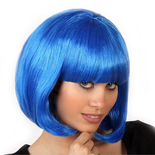 ¡ peluca corta azul fantasía para fiestas & halloween !!