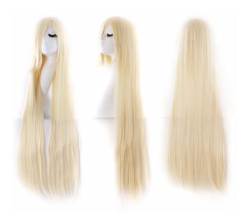 ¡ peluca lisa 100cm rubio clar extralarga kanekalon cosplay