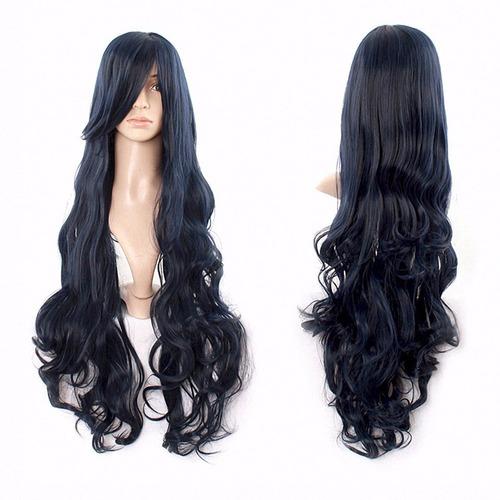 ¡ peluca ondulada 80cm negro kanekalon cosplay  !