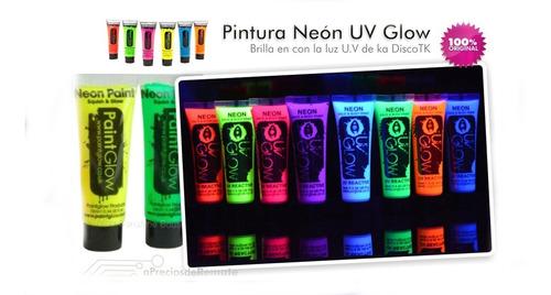 ¡ pintura neón blanco luz uv glow body paint fluorescente !!