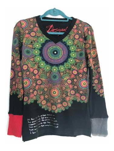 & polera sweater desigual negro s con envío